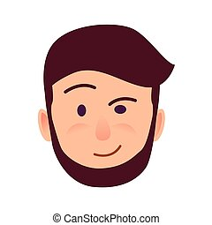 Distrustful Young Man Face Flat Vector Icon - Distrustful...