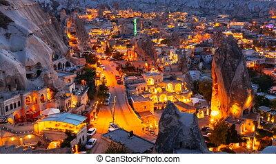 Pan Timelapse view of Goreme village in Cappadocia at night...