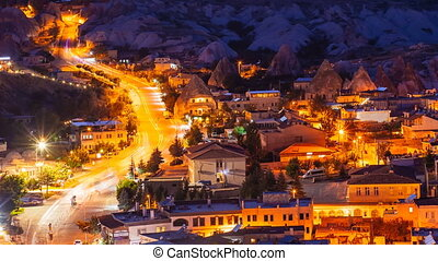 Pan timelapse view of Goreme village with beautiful sky in...