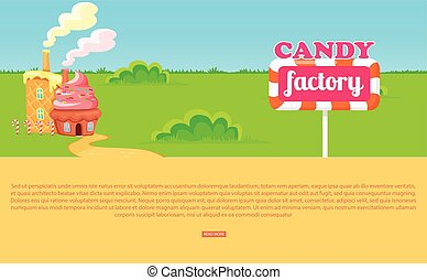 Small Cartoon Candy Factory on Wide Green Meadow - Candy...