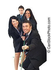 Happy team pulling rope and having fun isolated on white...