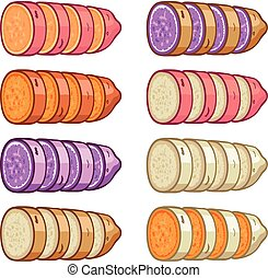 vector sweet potatoes slices set isolated on white...