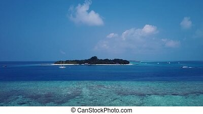 v05879 Aerial flying drone view of Maldives white sandy...