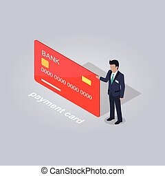 Bank Payment Card and Businessman Illustration - Bank...