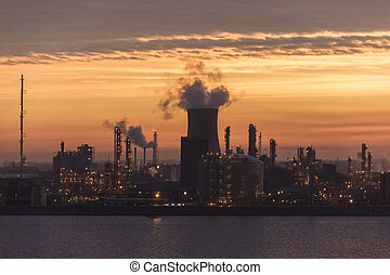 Petro-Chemical Plant - Hull - England - Dawn over the...