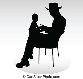 man with hat holding a baby silhouettes