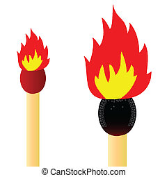 matches and fire vector illustratio
