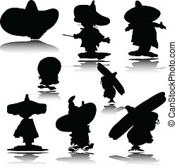mexican man vector silhouettes