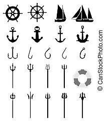 Nautical Icons isolated - Set of Nautical Icons isolated on...