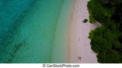 v05228 Aerial flying drone view of Maldives white sandy...