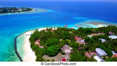 v05886 Aerial flying drone view of Maldives white sandy...