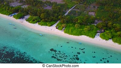 v05329 Aerial flying drone view of Maldives white sandy...