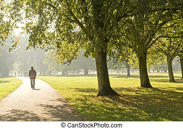 man walking in the park