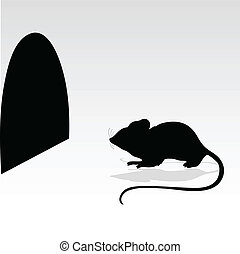mouse and its hole vector silhouettes