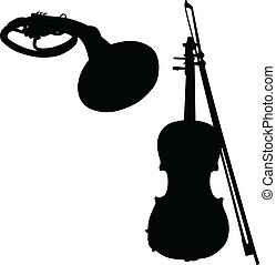music instruments vector silhouette