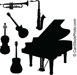 music instrument with piano vector silhouettes
