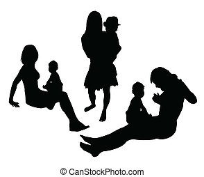 mother play with child vector silhouettes