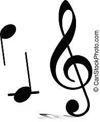 music note vector silhouettes