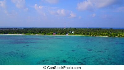 v05077 Aerial flying drone view of Maldives white sandy...