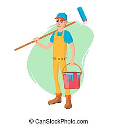 Male House Painter Vector. Classic Paintbrush. Paint Concept Of House Renovation. Cartoon Character Illustration