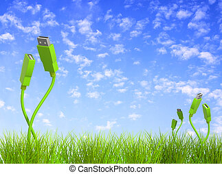 Green technology - Conceptual image - green technology. 3d