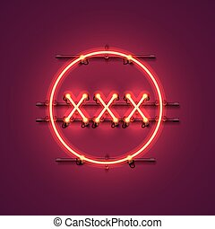 Neon banner xxx text. - Neon banner xxx text on the red...