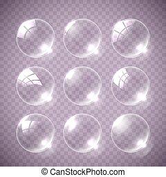 Realistic soap bubble pink colors. - Realistic soap bubble...
