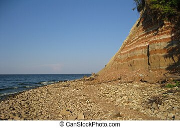 Abrupt coast - Abrupt river bank Volga consisting of layers...