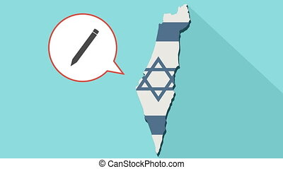 Animation of a long shadow Israel map with its flag and a comic balloon with a pencil