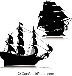 old boat vector silhouettes
