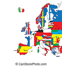 Card of Europe in the form of flags on a white...