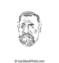 Man's face caricature. Vector
