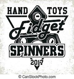 vintage emblem design - Vintage emblem of fidget spinner...