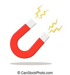 Magnet. Flat design. Vector. - horseshoe magnet sign....