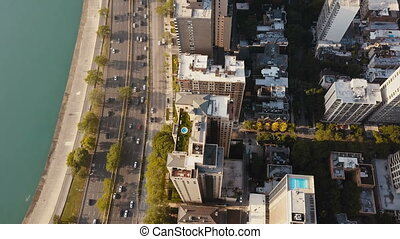 Aerial view of the Chicago, America in the morning. Drone...