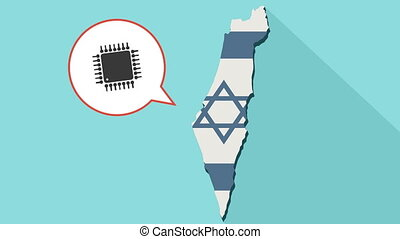 Animation of a long shadow Israel map with its flag and a...