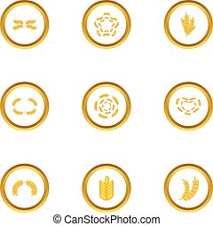 Cereal grain icons set, cartoon style