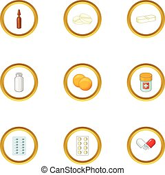 Pharmacy drug icons set, cartoon style - Pharmacy drug icons...
