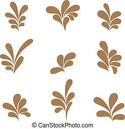 Set brown curls  vector format.