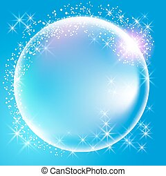 Sphere surrounded by sparkling fireworks and stars - Sphere...