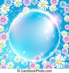 Sphere surrounded by flowers - Sphere surrounded by...