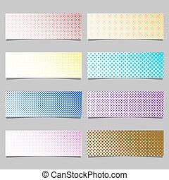 Retro halftone dot pattern banner background set - horizontal illustrations with circles in varying sizes