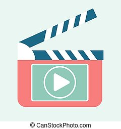 video play clapperboard - Play video button on clapperboard.