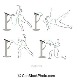 Ems workout stages - poses. Electric muscular stimulating...