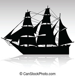 old ship sailing vector silhouettes