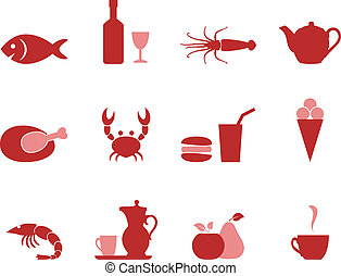 Color icons food set vector format