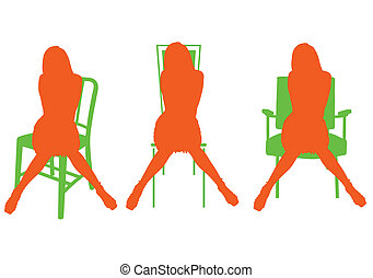 orange silhouette girls and chairs illustration