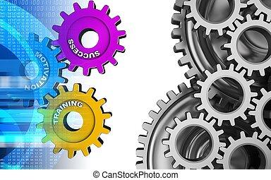 3d digital - 3d illustration of success system over white...