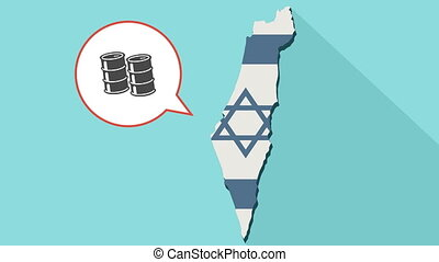 Animation of a long shadow Israel map with its flag and a comic balloon with barrels of oil