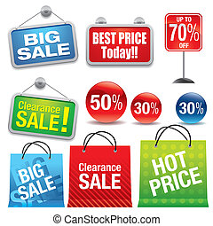 Shopping Bags - Shopping bags and sale labels set.